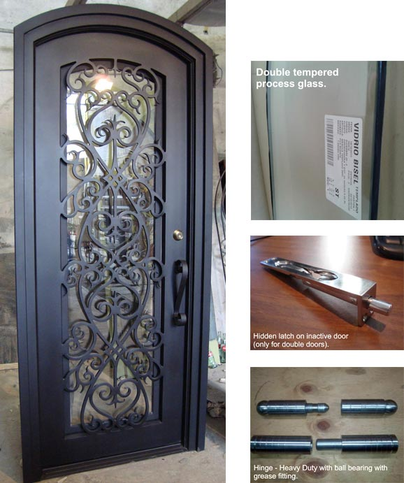 Forged iron entry doors custom designed exterior iron for Door design of iron