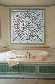 Bathroom Hallway Windows in Art and DecoGlass Custom Designed